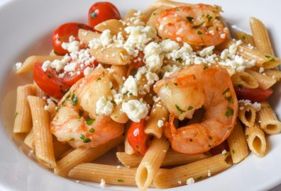 Basil Shrimp and Tomato Pasta with Feta