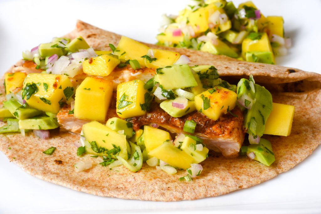 Fish Taco with Avocado Mango Salsa